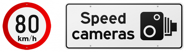 80 km per hour and speed camera road signs